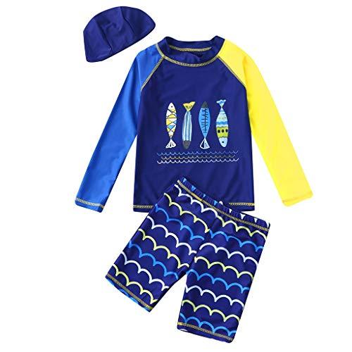 PPangUDing BadeanzüGe Jungen MäDchen Cartoon Fish Tops+Wave Shorts+Hat Swimwear Sets Uv Schutz ()