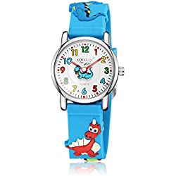 Leaders Chico Chica Reloj de pulsera de Cuarzo 3D Los Dinosaurios CartoonSuave Silicona Reloj Banda Los Niños El Reloj