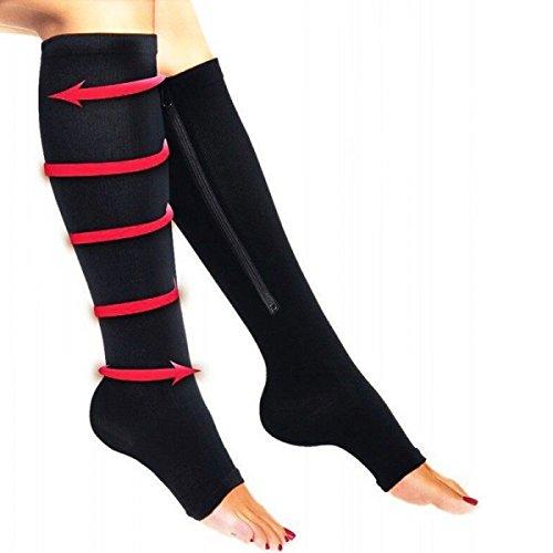 Medias de compresión apretadas con cremallera de dedos del pie al aire talla universal color negro