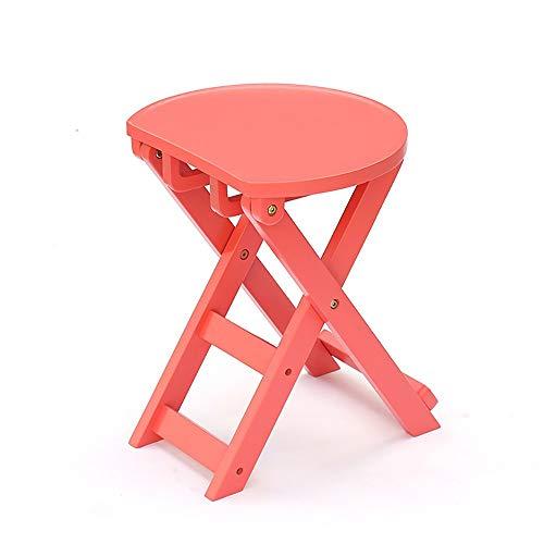 QKL Klappstühle Stühle Massivholz Kreativ Klapphocker/Moderner Restauranthocker/Farbwechsel Seine Schuhe Hocker/Küchenhocker (6 Farben Optional) Hocker (Farbe: Blau, Größe: S),Pink, Klein