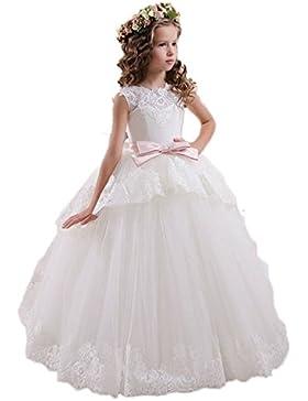VIPbridal Cordón Tulle vestidos de niña para las niñas V Vestidos de la comunión trasera