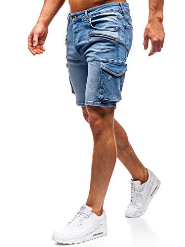 BOLF Herren Hose Kurzehose Jeans Clubwear Denim Street Style täglicher Stil The Gangster 3001 Blau S [7G7]