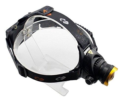 Genwiss Außen 3000lm Cree T6 LED wasserdichten Stirnlampe mit 2 x 18650 oder 3 x AA-Akkus und 1 x Ladegerät für Camping Biking Jagen Fischen Reiten (gold) (Inklusive Akku und Ladegerät)