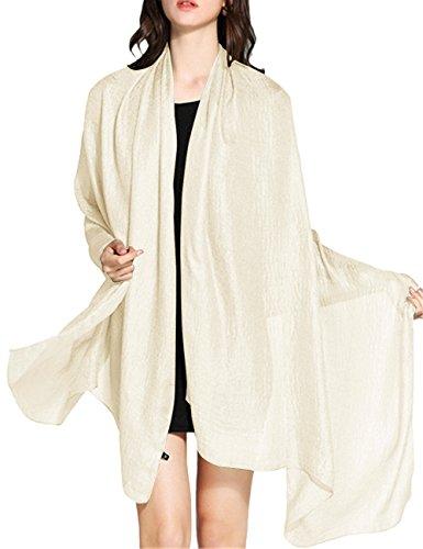 WedTrend Hochwertig Schlicht Flachs Stola Schal für Kleider in verschiedenen Farben WTC30002 Ivory 190 * 100cm