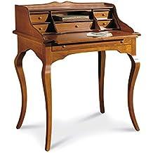 Scrittoio, stile classico, in legno massello e mdf con rifinitura in noce lucido - Mis. 78 x 50 x 94