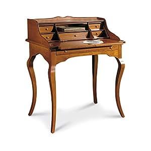 Giò Luxury Scrittoio, Stile Classico, In Legno Massello E Mdf Con Rifinitura In Noce Lucido - Mis. 78 X 50 X 94