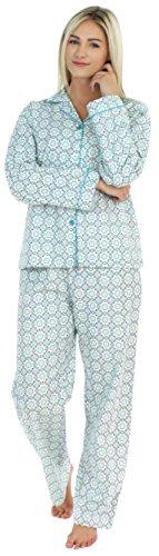 PajamaMania Flanell Pyjama für Damen, Schlafanzug, Blau Kreise (PMF1002-2038-UK-SML)