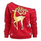 GreatestPAK Frohe Weihnachten,Pullover Damen Roter Schräge Schulter Sweatshirt Goldener Rentier-Print Tops Bluse, rot,XXL