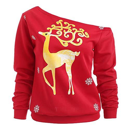 Dorical Weihnachts Sweatshirt Damen Herbst Winter Rot T-Shirt Leichter Schulterfreier Lange Elch Kuschelsweashirt Günstige kaufen Schicke Hochwertige Modische Frauen Sale