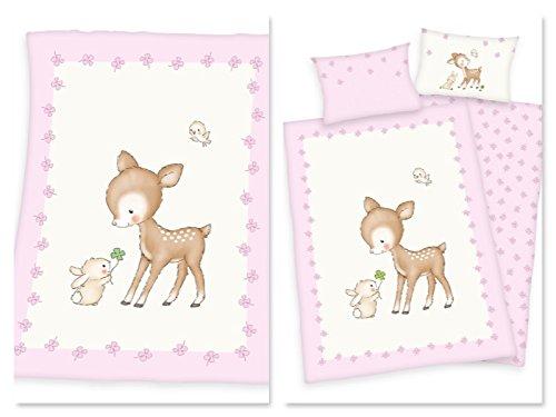 Baby-Bettwäsche Set Ella Reh mit passender Kuscheldecke l 3-teilig l 100x135 cm