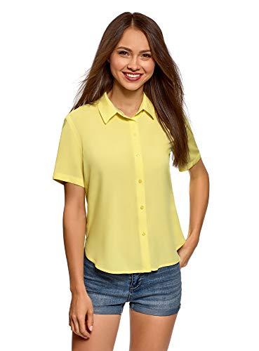 Frau Floral Print-bluse (oodji Ultra Damen Viskose-Bluse mit Kurzen Ärmeln, Gelb, DE 40 / EU 42 / L)