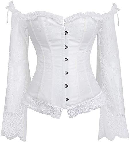 Leslady donna vintage underwear corsetto gothic spalla pizzo manica lunga corpo sexy corsetto bustino raso lacci burlesque top