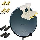 PremiumX Digital SAT Anlage 80 cm Schüssel Spiegel Antenne in Anthrazit + Quad Monoblock LNB für Astra und Hotbird 0,1dB FULLHD 3D TV für 4 Teilnehmer + 4 F-Stecker 7mm vergoldet + 4 Gummitüllen