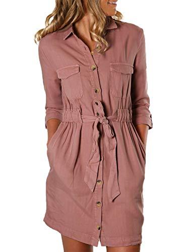 Happy Sailed Damen Langarm V-Ausschnitt Elegant Kurz Blusenkleid Hemdkleid Shirt Kleid Oberteil Kleid Minikleid mit Gürtel S-XL, Pink, X-Large (EU48-50) -