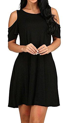 Minetom Donna Estate Vestiti Senza Spalline Tinta Unita Manica Corta Rotondo Collo Elegante Abito a Pieghe Mini Abiti Camicia Dress Corto da Matrimonio Banchetto Sera Nero