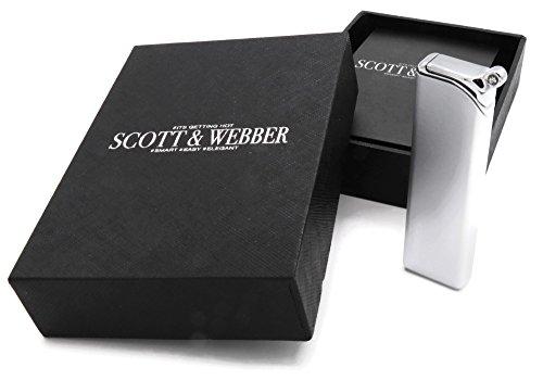 Scott & Webber Gas Sturmfeuerzeug Silber Metall Jetflamme, leicht (nur 49g), flach (nur 9 mm) #SMART #EASY #ELEGANT