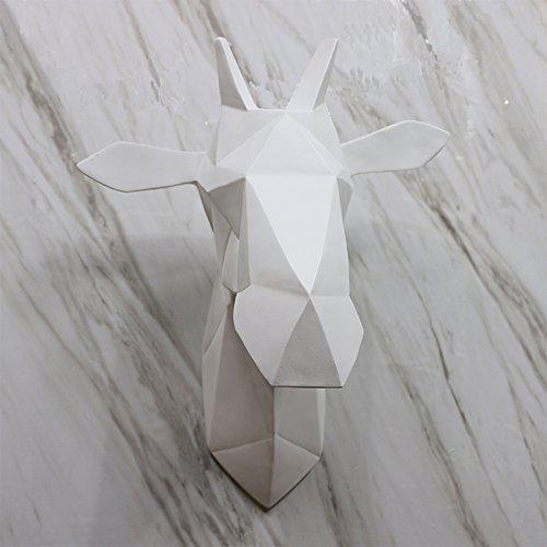 KIKIXI Nordic Moderne einfache Geometrie Tier Harz, Hirschkopf Wand hängen, weiche Wandschmuck, Wohnzimmer Dekoration, Weiß