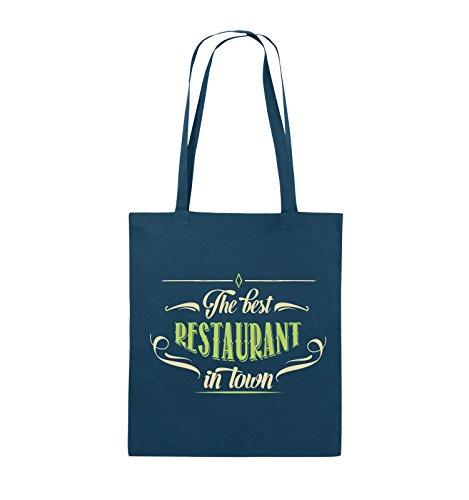 Comedy Bags - The best restaurant in town - Jutebeutel - lange Henkel - 38x42cm - Farbe: Schwarz / Weiss-Neongrün Navy / Beige-Hellgrün