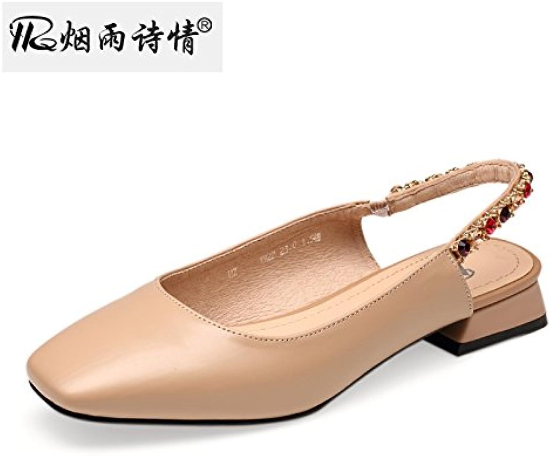 KPHY Platz Kopf Und Dicken Sohle Schuhe Damenschuhe Flachen Mund Sandalen Sommer Damenschuhe Schuhe Square - Heels. 3dbda1