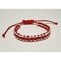 IohanaSchmuck Damen Armband Typ Shamballa, Martisor, Rot-Weiß, eigene Herstellung