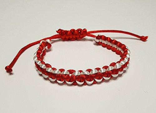 IohanaSchmuck Damen Armband Typ Shamballa, Martisor, Rot-Weiß, eigene Herstellung Rotes Shamballa Armband