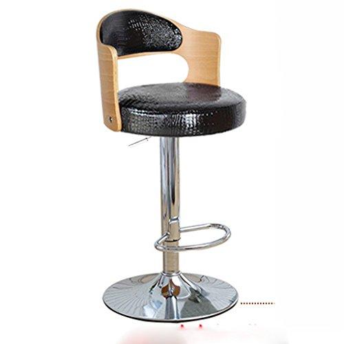 Ali@ Style européen Chaises de bar élégantes Chaise de bar Tabourets de bar Chaise de levage rotative Chaise de dossier en bois massif Chaise de bar Tabouret haut de la réception (Couleur : Blanc)