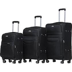 BEIBYE 8009 TSA Schloß Stoff Trolley Reisekoffer Koffer Kofferset Gepäckset (Schwarz, Set)