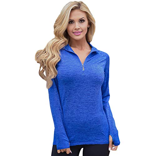 Sexy Lingerie Casual Turtleneck Sweater_Autumn And Winter New Solid Color V-Neck Zipper Long-Sleeved Gym Yoga Leisure Hooded Sweater 26018  Blue  L Fashion Solid Hooded Zipper