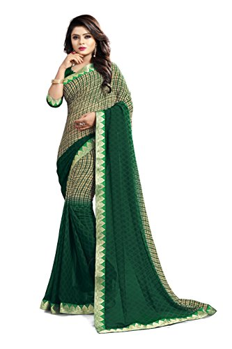 Ruchika Fashion Women\'s Georgette Saree With Blouse Piece Material