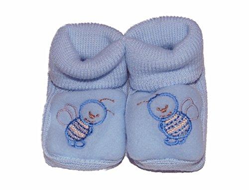 Babyschuhe, Strickschuhe, Erstlingsschuhe, Erstlingssöckchen, das ideale Geschenk, verschiedene Farben hellblau-Biene
