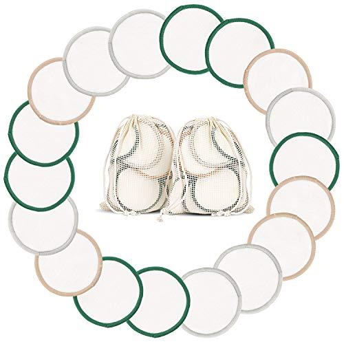 YITHINC 18 Stück Waschbare Abschminkpads,Organische Wiederverwendbare Wattepads mit Weichem Bambusgewebe und 2 Wäschebeutel, 3 Farben, für alle Hauttypen, Umweltfreundlich