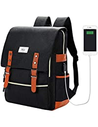 College Bag Fits up to 15.6'' Laptop Casual Rucksack Waterproof School Backpack Daypacks with USB Unisex