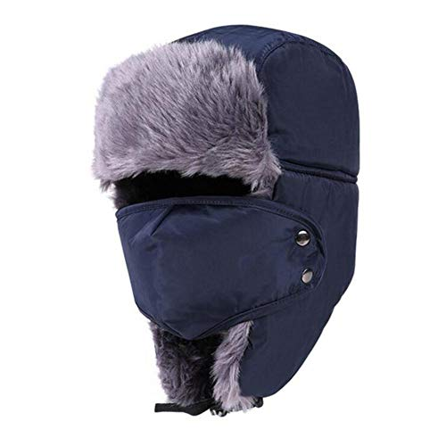 Blue Vesse Unisex Winter Trooper Hat mit Ohrenklappen Jagdhut für Männer und Frauen Wasserdicht Atmungsaktiv Uschanka Gurt Winddicht Maske (Navy)