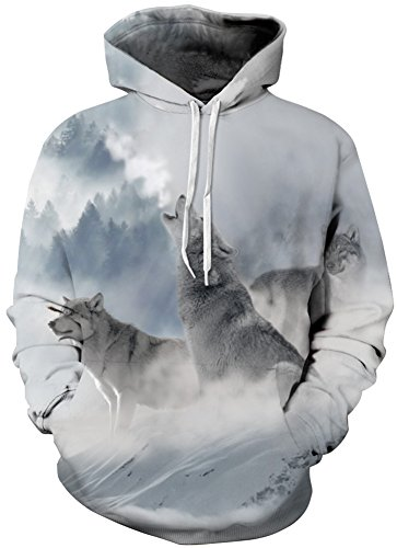 Bettydom Herren Galaxy Stil Unisex Slim Langarm Casual Wear Mann Sweatshirt Kapuzenpullover Hoodies Growl Wolf