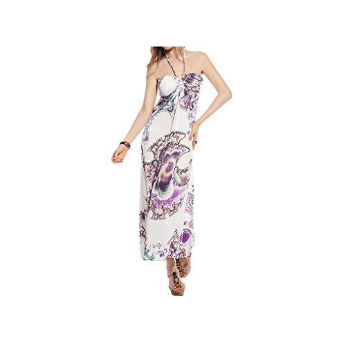 """Waooh - Fashion - Kleid floral bedruckte langen """" Aylin """" Weiß / Violett"""