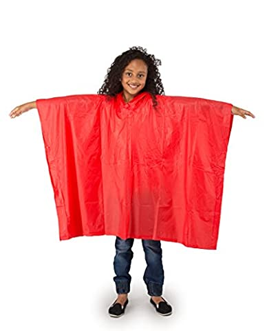Child Waterproof PVC Rain Poncho - Red