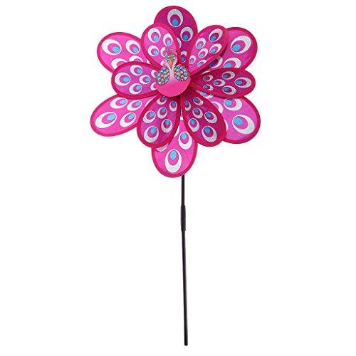 MagiDeal 3D DIY Pfau Windmühle Windrad Windspiel Pinwheel - Dekoration für Garten, Balkon, Terrasse, Hof und Rasen - Zufällige Farbe | Garten > Dekoration > Windmühlen | MagiDeal