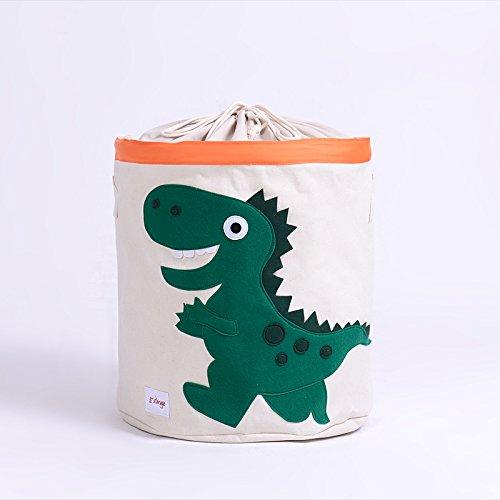 Hunde 2-stück Gepäck-set (wasserdichte Wäschekorb Korb Faltbare Stoff Cartoon Aufbewahrungsbox Wäschebehälter Tasche mit Griff für schmutzige Kleidung Kleidung Grüner Dinosaurier 46x43.5cm)