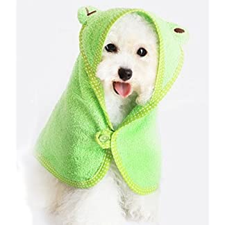 Doggie Style Store Green Frog Design Dog Bathrobe Towel Bath Robe Dressing Gown – 3 Sizes 41VcCFZUDEL