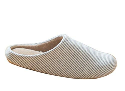 Minetom Paar Pantoffel aus Streifen Slippers weiche Baumwolle Hausschuhe weiche warme Schuhe EU Größe ( Hellblau EU 36 )