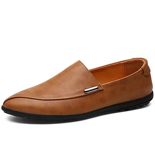 ChengxiO Beanie Schuhe Herren frühjahr Neue Faule männer britische Schuhe Trend Mode lässig Kuh Leder Schuhe Set fuß Fahren Freizeit Flache Schuhe männer (Farbe : Gelb, größe : 40)