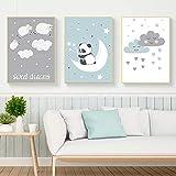 JTM Panda Mignon Mouton Mur Photos pour Salon Nuages Blancs Nordique Affiche Pépinière Cuadros Bébé...