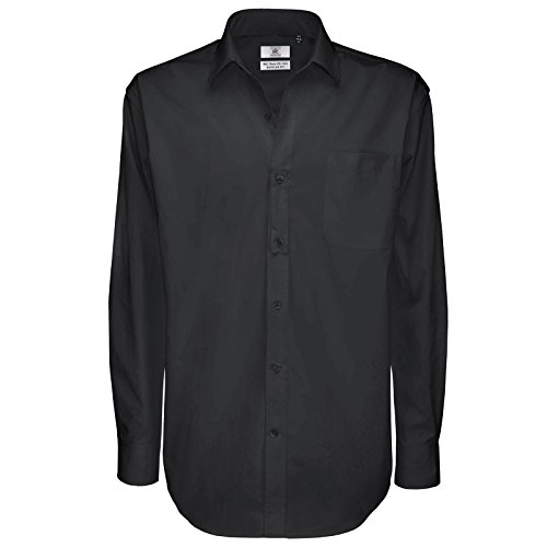 B C Collection Herren & Sharp Smart Work Shirt Long Sleeve Schwarz - Schwarz