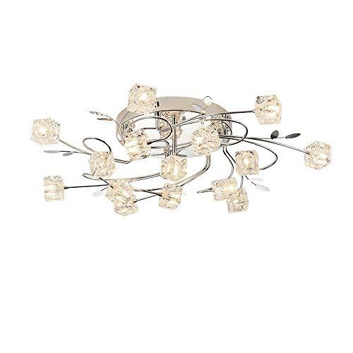 RedAlphabet Moderne elegante LED-Deckenleuchte-Kristallblumen-und Chrom-Metall-Blätter Runde Art Design Deckenleuchte for Schlafzimmer Wohnzimmer Küche Esszimmer Study Beleuchtung, D75CM, 15 * G4 [Ene -