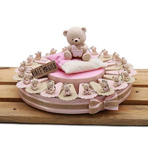 Bomboniera Nascita Battesimo Primo Compleanno Torta con TenerOrsi CELESTE Portachiavi Bimbo 60 pz
