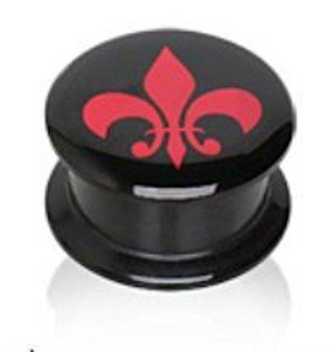 3 mm (8GA), Schwarz Beschichtet, UV Acryl Doppel Flackerten Schraube Sattel Plug Ohr Messgerät mit Roten Ohrringe Fleur De Lis Logo (Billig-ohr-messgeräte)