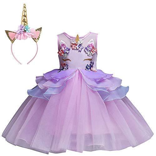 Mbby Costumi Carnevale Bambine,2-7 Anni Vestiti Unicorno da Cerimonia per Bambina...
