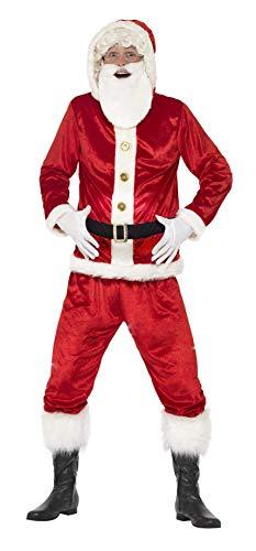 Smiffys 46751L - Herren Lustiges Santa Claus Kostüm, Jacke mit Kapuze, Gepolsterter Bauch, Ho Ho Ho Sound Chip, Hose und Bart, Größe: L, rot