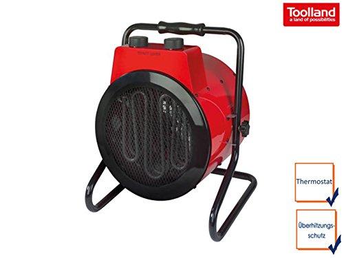 Leistungsstarker Bauheizer Heizstrahler mit 3 Heizstufen, Thermostat, Kippsicherung, IPX4, 3000W, 230V