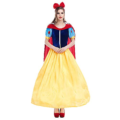 Kostüm Für Disney Günstige Prinzessin Erwachsene - CHIYEEE Frau Kleid Kostüm Prinzessin Märchen Damen Cosplay Party Kleidung für Halloween Karneval Rollen Spiel Gelb M
